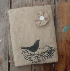 Nest   Burlap Feed Sack Journal Cover w by nextdoortoheaven, $12.00