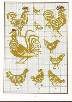 ru / Photo # 52 - Motives for sirloin knitting - Alleta Chicken Cross Stitch, Cross Stitch Bird, Cross Stitch Animals, Cross Stitch Charts, Cross Stitch Designs, Cross Stitch Patterns, Crochet Cross, Filet Crochet, Crochet Chart