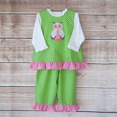 10/16/2013  Girl's Green Polkadot Owl Pants Set