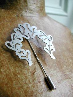 Jewellery we love!  www.silvertownart.com  Silver Rosemary Wreath Brooch Pin by AlexisSoutham