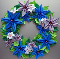Purple Clematis Origami Paper Wreath