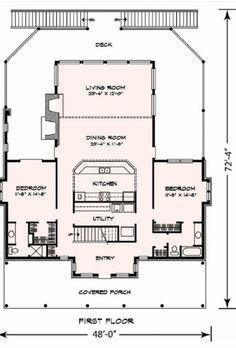 Cottage Style House Plan – 3 Beds 3 Baths 2398 Sq/Ft Plan Floor Plan – … – How to make Cottage Style House Plans, Cottage Style Homes, Cottage House Plans, Cottage Design, Small House Plans, House Design, Patio Design, The Plan, How To Plan