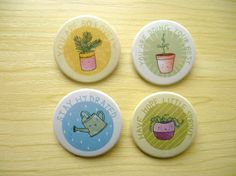 Positive Plants Badges Cute positivity by inklingillustrates