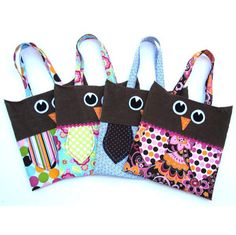Owl Tote - how cute!  Great library or music lesson bag!