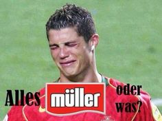 """Portugal weg gemüllert! So, alles Müller, oder was? ROFL ;-D Poor Ronaldo+but it's a funny REAL advert. of Müllermilch in Germany. Info: Making of TV-Spot """"Alle Müller, oder was?"""" mit Thomas Müller (astro snake) @esmuellert_+Gerd Müller (scorpio) http://www.youtube.com/watch?v=0fcgY2_bCLY The result/advert.: http://www.youtube.com/watch?v=H31fS2PIB74"""