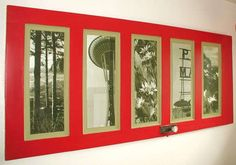 Love the use of large photos in the panes! This is a door, but you could also use a window with long, narrow panes.