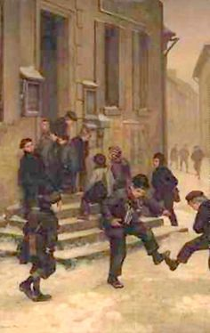 In Front Of The School - by Pierre Edouard Frere (1819 - 1886, French)