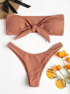 2c5f98682d5de Bikini Knotted Padded Thong Bikini Set Women Swimwear Sexy Off Shoulder  Swimsuit Solid High Cut Bathing Suit Brazilian Biquni
