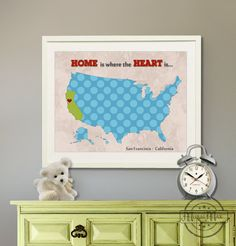 "Kids wall art USA MAP  Poster Print 11""x14"" , Colorful Personalized Map Art for Children, Nursery art. $30.00, via Etsy. #AmericanMade"