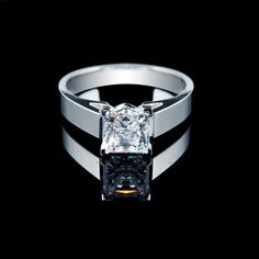 Majesty Diamonds -1 CT Princess Cut Diamond Solitaire Engagement Ring in 14K White Gold