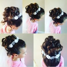 Gorgeous First Communion Hairstyles for Girls Easy Little Girl Hairstyles, Cute Girls Hairstyles, Flower Girl Hairstyles, Wedding Hairstyles, Kids Hairstyle, Hairstyles Pictures, First Communion Veils, Holy Communion Dresses, Communion Hairstyles