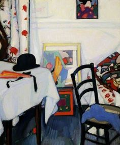 Interior with a Japanese Print by Samuel John Peploe,    c 1915, oil on canvas, 80 x 62.2 cm   University of Hull Art Collection