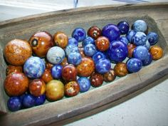 60 Antique Bennington Pottery Marbles Brown by RedRiverAntiques