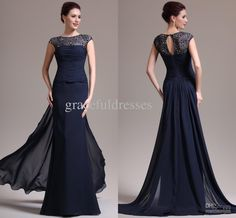 Wholesale Real ImagesA-line scoop lace and chiffon ruffles sheath navy blue sweep train formal dresses long evening dress, Free shipping, $139.0/Piece | DHgate