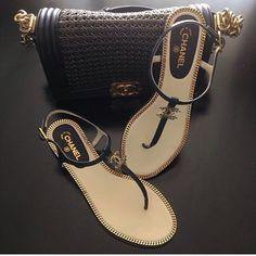 49c84b4467c42 Black Chanel sandals and handbag very cute stylish sexy trendy!
