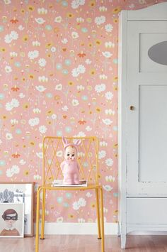This pink floral scandinavian wallpaper design called Bloom would look gorgeous in a bedroom.