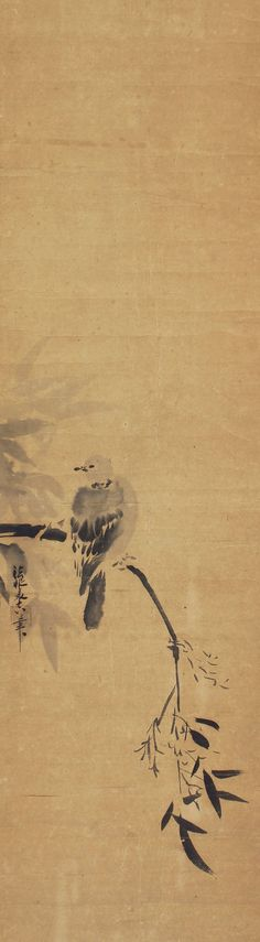 Antieke Japanse kunst muur opknoping Scroll schilderij vogel
