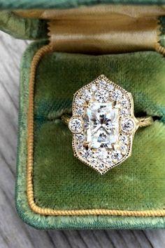 Sparkle Like A Diamond: 18 Moissanite Engagement Rings ❤ See more: http://www.weddingforward.com/moissanite-engagement-rings/ #wedding