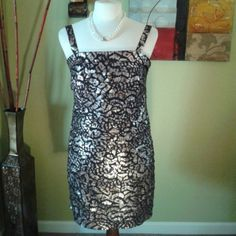 Layers of Chic gold & bronze splash Party over here this is a beautiful cocktail dress or great for an evening on the town.  Sleeveless, full back zipper partial upper slip. Collection Dress Barn  Dresses