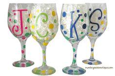 Painting wine glasses on pinterest painted wine glasses for Where to buy vinyl letters for wine glasses