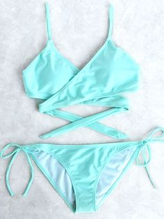 Shop Jade Blue Side Tie Wrap Bikini Set online. SheIn offers Jade Blue Side Tie Wrap Bikini Set & more to fit your fashionable needs.