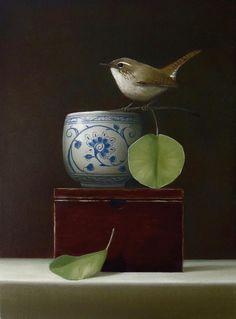 'Wren' by American artist Sarah Siltala. Oil on canvas, 12 x 9 in. Painting Still Life, Still Life Art, Art And Illustration, Bird Art, Beautiful Paintings, American Artists, Beautiful Birds, Monet, Pet Birds