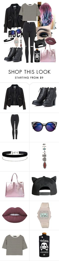 """""""Rocker Chic"""" by jeiraawr ❤ liked on Polyvore featuring Zizzi, Topshop, Miss Selfridge, Forever 21, River Island, Lime Crime, Casio, TIBI and Valfré"""