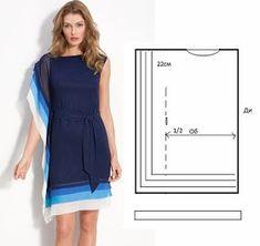 Moda e Dicas de Costura: Dress/Tunic Easy to Do. Diy Clothing, Sewing Clothes, Clothing Patterns, Dress Patterns, Sewing Patterns, Fashion Sewing, Diy Fashion, Robe Diy, Costura Fashion