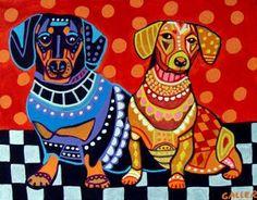 Dachshund Art Dog Doxie Dogs Poster PRINT by HeatherGallerArt, $24.00