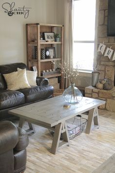 DIY Sawhorse Coffee Table free plans by Shanty2Chic!