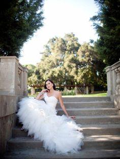 Fancy one shoulder sleeveless taffeta wedding dress