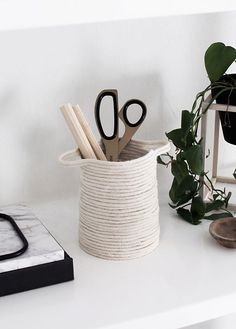 DIY Small Rope Basket - with glue