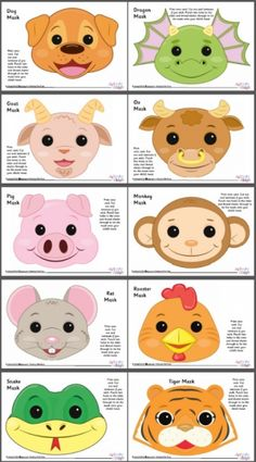 Chinese Zodiac Animal Masks - Set 2 - Colour
