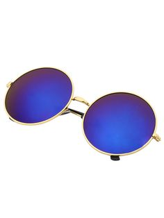 Shop Blue Mirrored Lenses Retro Round Sunglasses online. SheIn offers Blue Mirrored Lenses Retro Round Sunglasses & more to fit your fashionable needs.