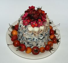 Bird cake made with melted lard, seeds, nuts, dried fruits