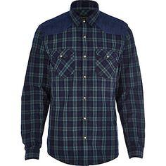 Dark green check denim patch shirt 45,00 €