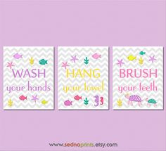 Girls bathroom Art Print Set 8X10 Kids Bathroom by SednaPrints