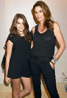 Cindy Crawford and her look-alike model daughter Kaia Gerber were matchy-matchy at the premiere bash for VH1's Barely Famous at the London Hotel in West Hollywood March 12.