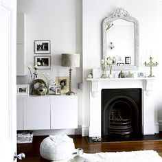 chic scandi white living room with black fireplace Living Room White, White Rooms, My Living Room, Living Spaces, White Walls, Victorian Terrace House, Victorian Homes, Victorian Fireplace, Interior Exterior
