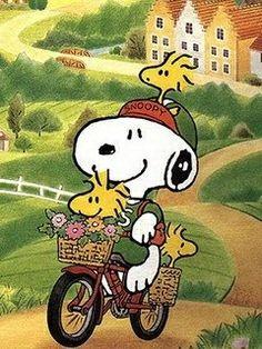Snoopy and Woodstock biking