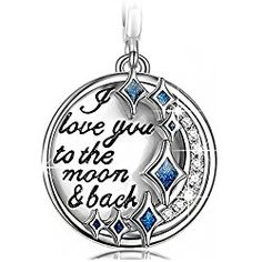 """NinaQueen """"I Love You to the Moon and Back"""" 925 Sterling Silver Dangle Charms """"Best Love Gifts Valentine's Day Gifts Idea"""