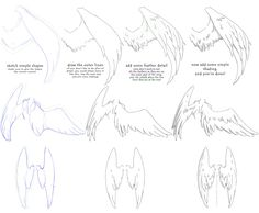 how to draw folded dragon wings | helpyoudraw:How To Draw Wings (Click for HD)