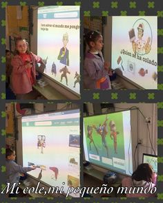 Students playing TinyTap activities on a projector in class.