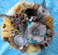 Rustic Burlap Wedding Bouquet: Vintage Fabric Lace Feather Country Bridal. $250.00, via Etsy.