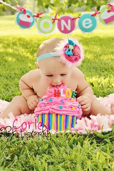 Birthday Cupcake Headband Baby Girl by StinkinCuteDollhouse