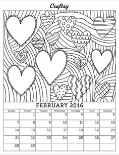 Free February 2016 Coloring Calendar Page