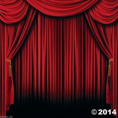 HOLLYWOOD Movie Night Party Decoration Wall Mural BACKDROP Prop RED CURTAIN