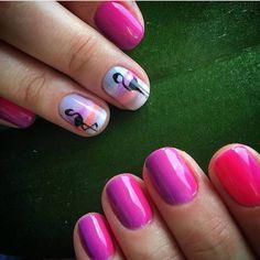 Acid pinknails, Bird nail art, Bird nails, Bright gradient nails, Bright summer nails, Ideas of gradient nails, Kid nails with pattern, Natural nails