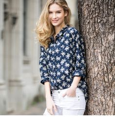 shirt blouse female long sleeved fashion print loose Hin thin cotton blouse
