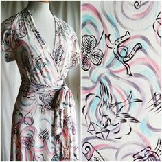 1940's rayon jersey novelty robe by solanahoriginal on Etsy